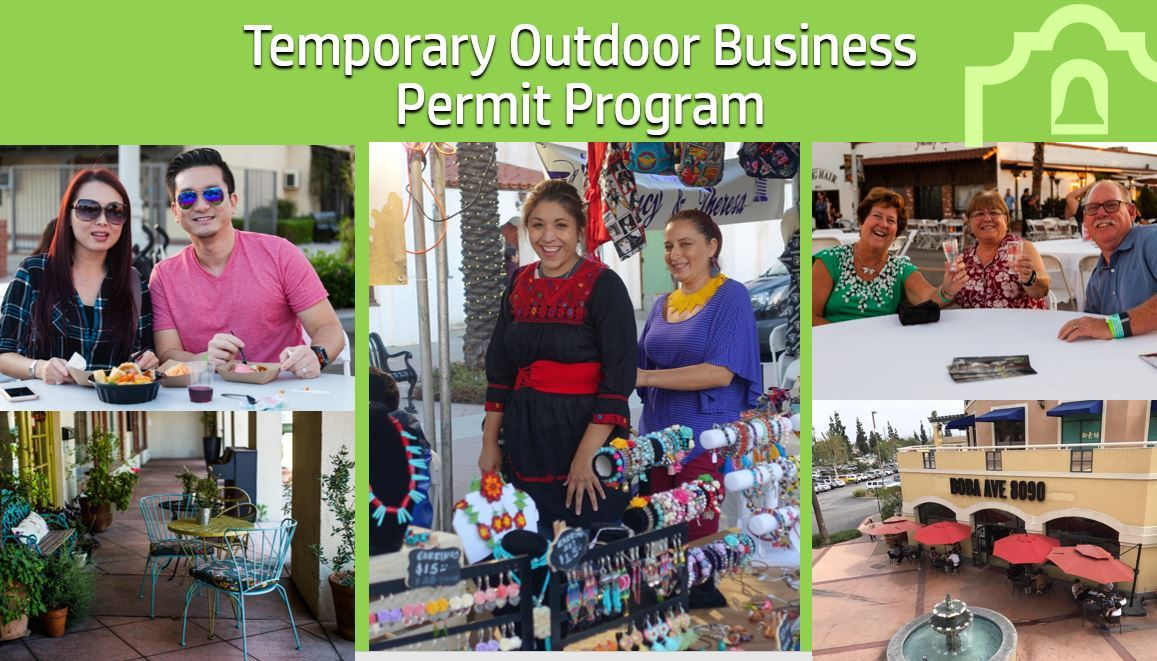 outdoor business activity and people